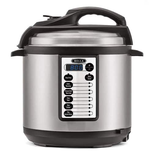 BELLA 6 Quart Pressure Cooker with 10 pre-set functions and Searing Technology, 1000 watt @ Amazon $47.99