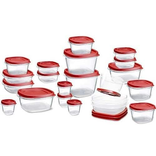 Rubbermaid Easy Find Lid 42-Piece Food Storage Container Set, Red [Red, 42-piece] $15.99