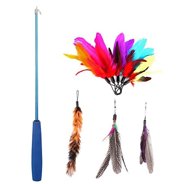 8 Pcs Assorted Feather Cat Toy Retractable Wand Rod $11.19 FS Prime