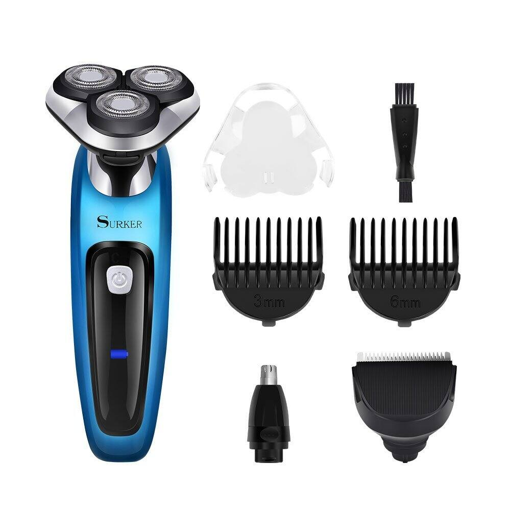 SURKER Electric Shaver Rotary Shaver Wet and Dry 3 in 1 With Nose Trimmer and Sidebums Razor Waterproof Black Blue $14.99 FS prime