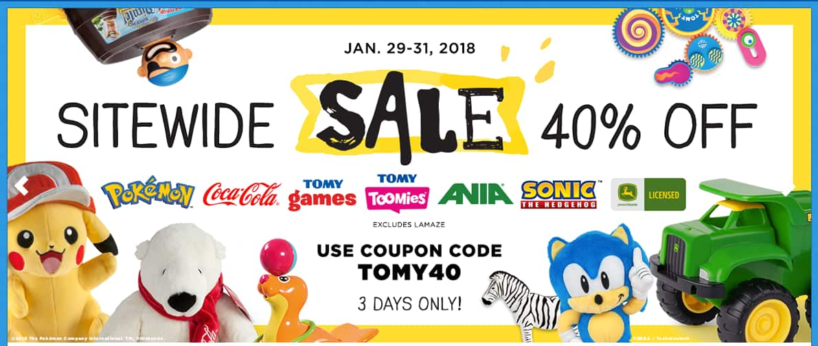 Tomy Toys Flash Sale 40% Off Sitewide and 40% off Sister Sites. Free S/H on $50+