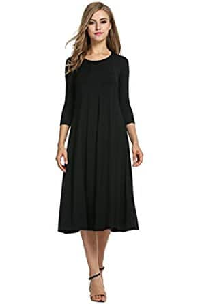 Women's 3/4 Sleeve A-Line Midi Dress - $16.79 w/Code + Free Shipping w/Prime $16.97