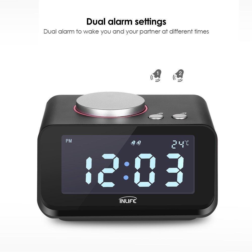 Dual Alarm Clock with FM Radio & USB Ports - $12.99 w/Code + Free Shipping w/Prime