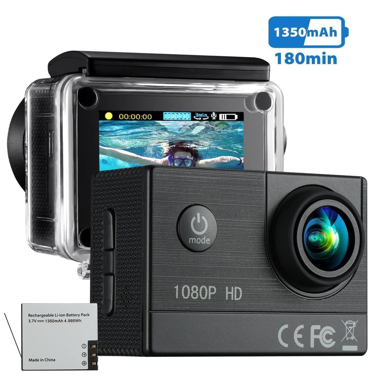 Waterproof Action Camera (HD 1080P) - $15.99 w/Code + Free Shipping w/Prime