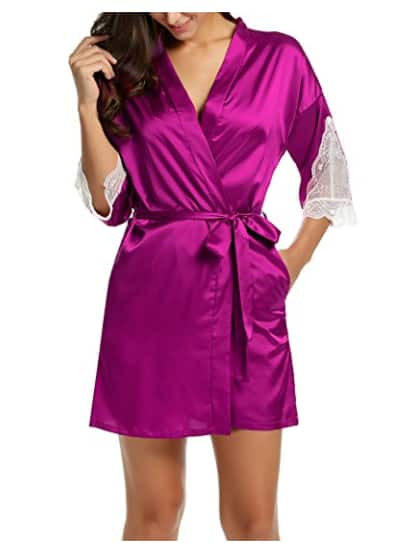Women's Short Satin Bathrobe/Kimono with Lace Trim Sleeves (Rose Red) - $9.99 w/Code + Free Shipping w/Prime
