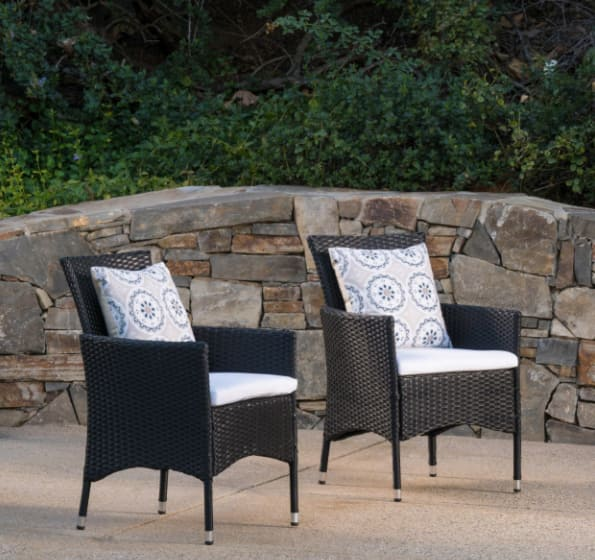Christopher Knight Outdoor Wicker Dining Chair with Cushions (Set of 2) - Starting at $75.99 + Free Delivery