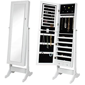 Mirrored Jewelry Cabinet Armoire w/ Stand (Various Colors) - $51.99 + Free Shipping w/Prime
