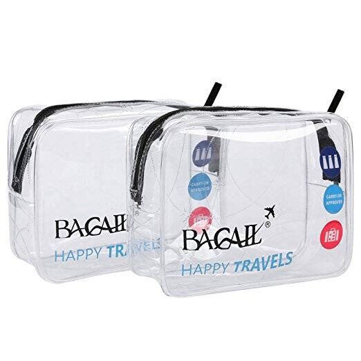 Bagail Clear Travel Toiletry Bag | Quart Sized with Zipper | Airport Airline Compliant Bag | Carry-On Luggage Travel Backpack for Liquids/ Bottles Two Pack Blue: $8.99+ FS@Amazon