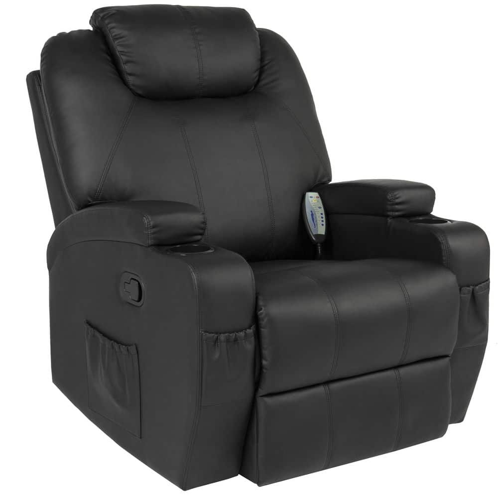 Massage Recliner Sofa Chair Heated W/Control Ergonomic Executive Couch Lounge Bk - $232.99