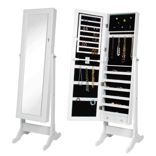 Mirror Jewelry Cabinet Organizer Armoire Mirror Rings, Necklaces, Bracelets - $57.99