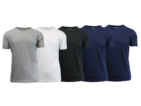 Men's Soft Cotton Tee 5-Pack - $16.99 - [FS for Prime members]