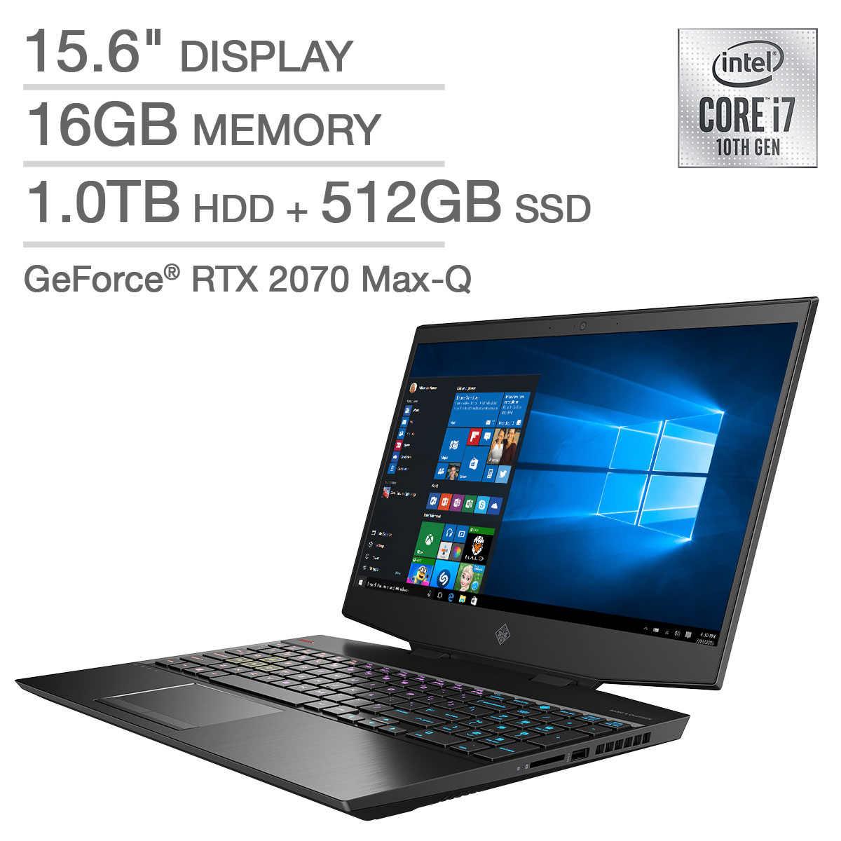 Costco HP OMEN 15.6 Laptop - 10th Gen Intel Core i7-10750H - GeForce RTX 2070 Max Q - IPS 144Hz 1080p $1449.99