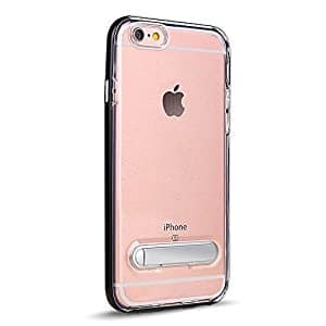 50% OFF iPhone 8 / 7 Clear Transparent Cover Armor Hybrid Kickstand Case with Metallic Design Bumper Shockproof Protection (Black) - FREE SHIPPING - Prime $7.49