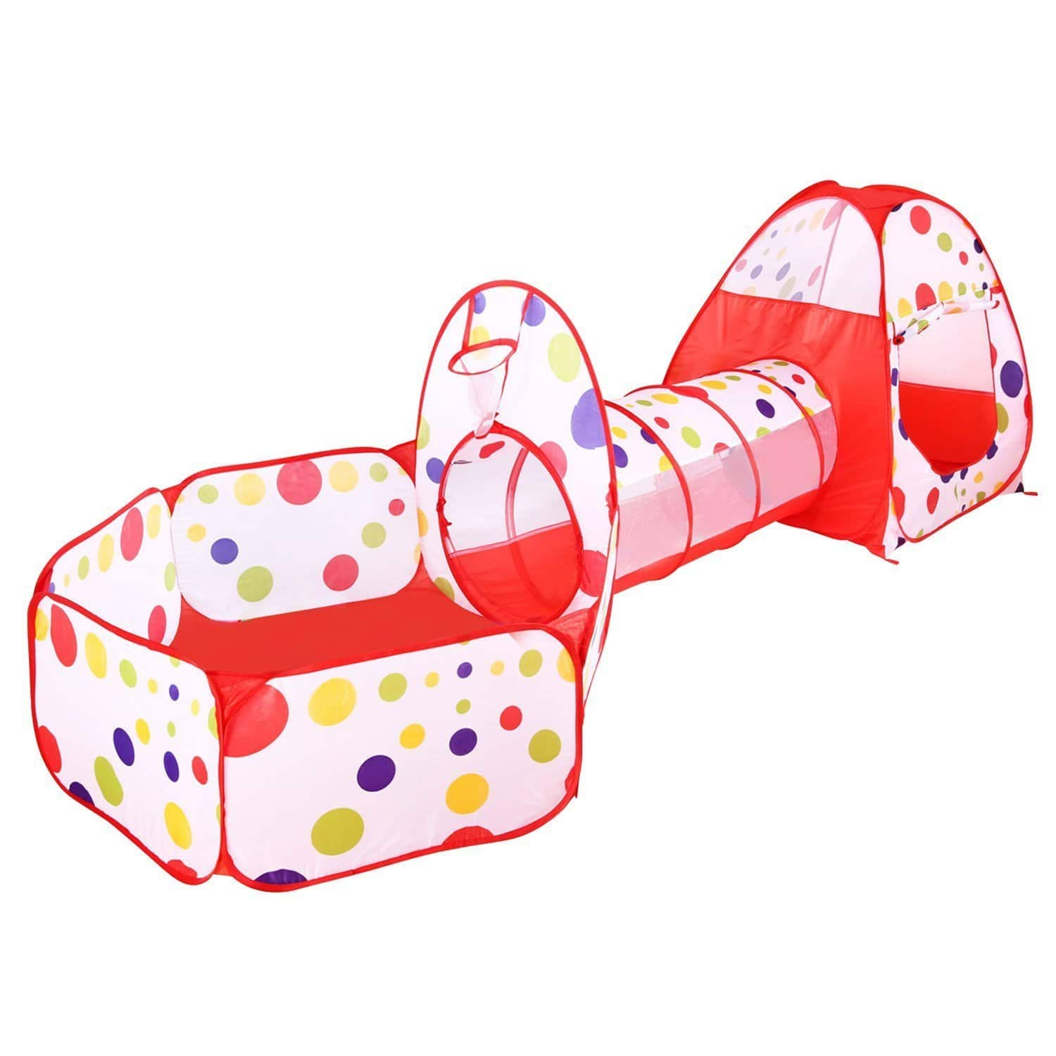 BATTOP Toys&Games Children Play Tent Game Playhouse (Red 3 in 1)  $19.83
