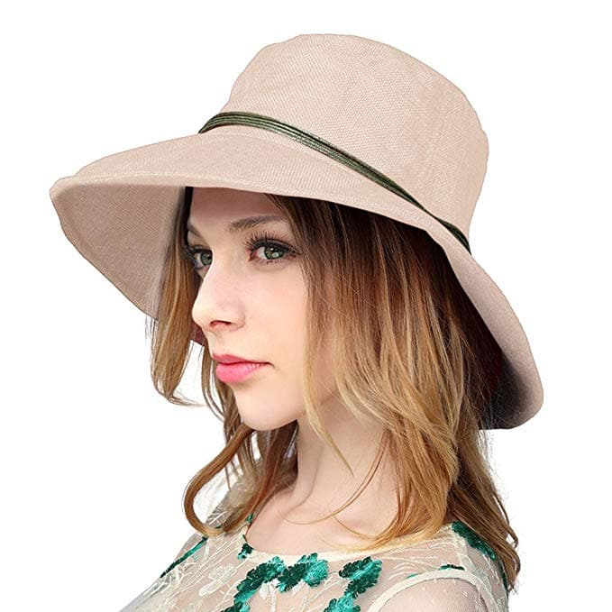 6.59 AC - YoungLove Women's Summer Linen Sun Hat With Wooden Bead Beach Hat $6.59