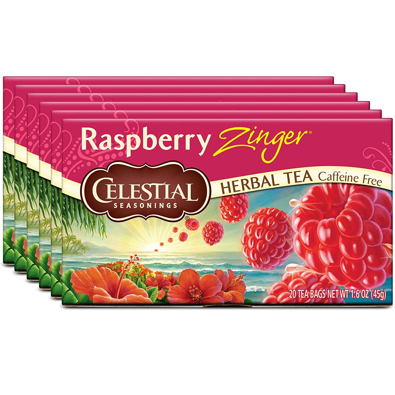 Celestial Seasonings Raspberry Zinger Herbal Tea, 20 Count (Pack of 6) S&S $11.12