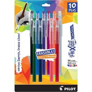 10-Pack Pilot Frixion Gel Ink ColorSticks Pens (Assorted Colors) $5