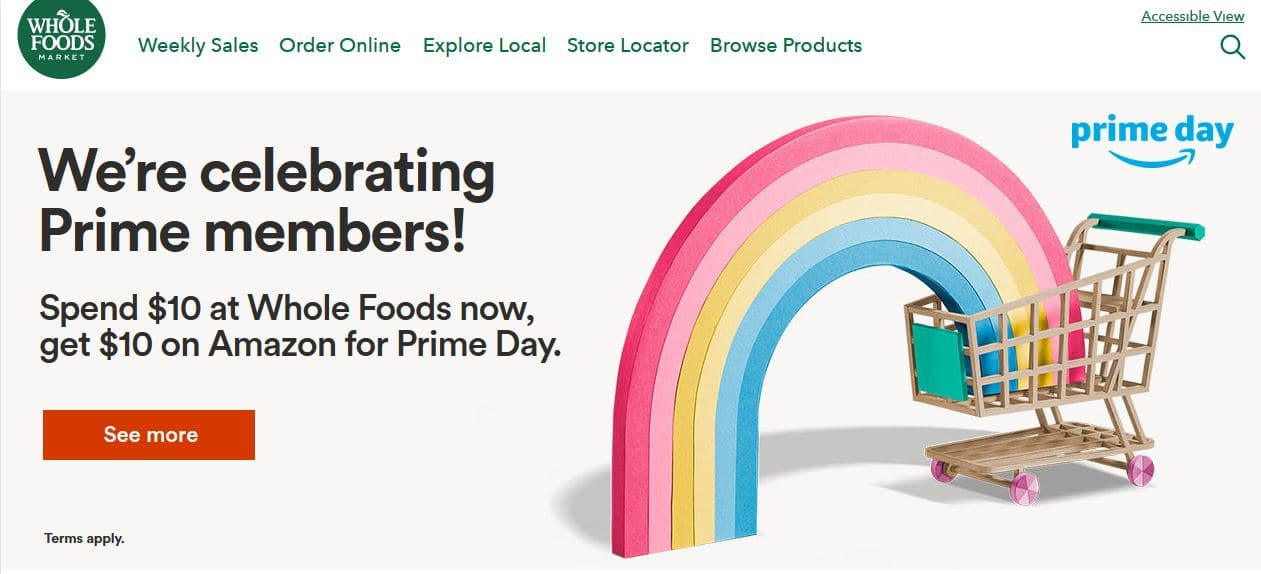 $10 Amazon Credit for Prime Day with purchase of $10 or more at Wholefood