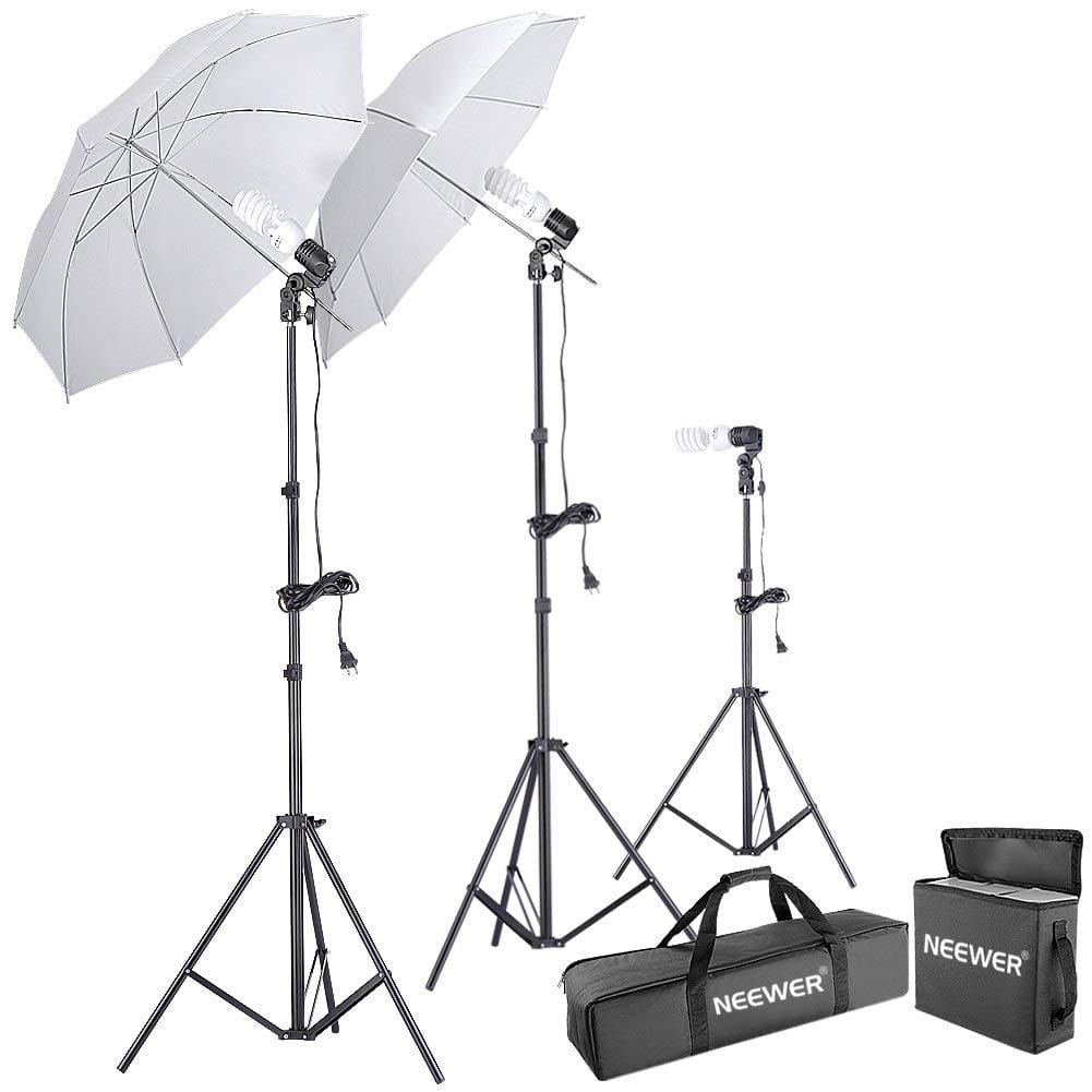 Neewer 600W 5500K Photo Studio Day Light Umbrella Continuous Lighting Kit $46.19