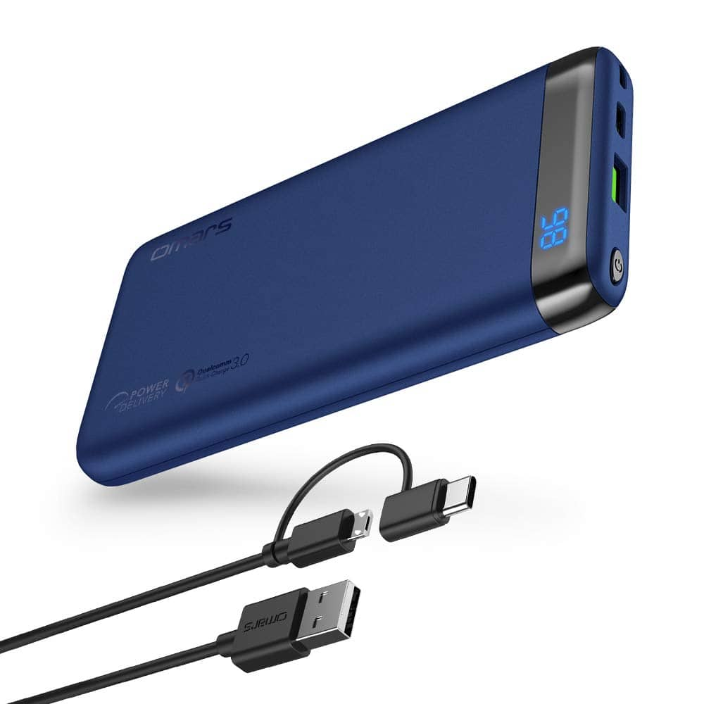 Omars PD Power Bank 10000mAh USB C Power Delivery / Quick Charge 3.0 $14