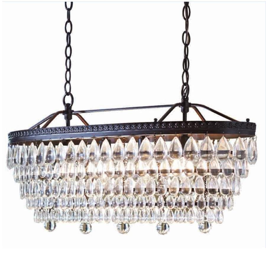 allen + roth Eberline 4-Light Oil-Rubbed Bronze Modern/Contemporary Crystal Tiered Chandelier $29.98
