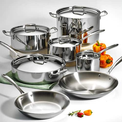 Tramontina 12-Piece Stainless Steel Tri-Ply Clad Cookware Set $172.92