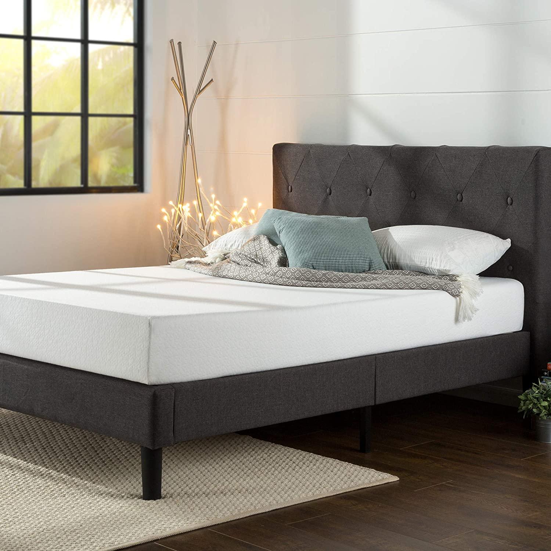 ZINUS Shalini Upholstered Platform Bed Frame / Mattress Foundation / Wood Slat Support / No Box Spring Needed / Easy Assembly, Dark Grey, Queen - $128.11