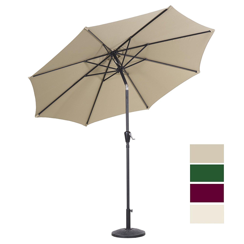 9 Ft Outdoor Patio Umbrella Push Button Tilt and Crank, Creamy White, Hunter Green, Burgundy @Amazon Clearance $24.99+ Free Shipping