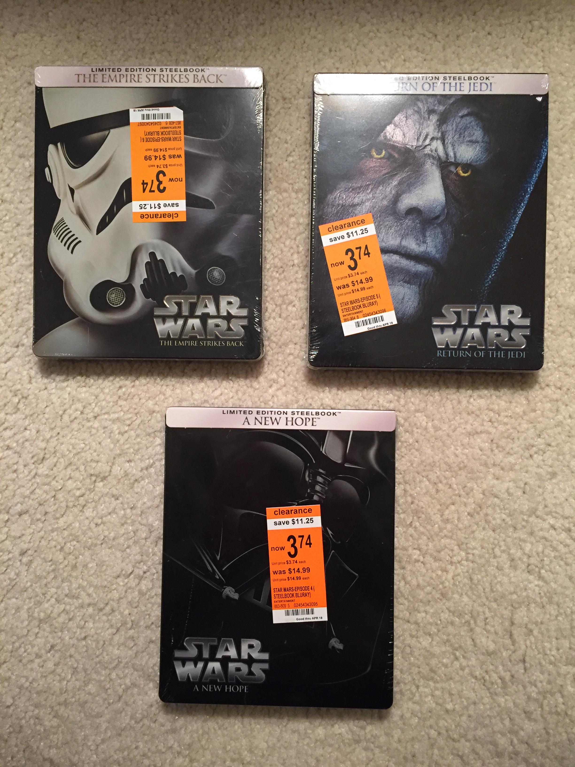Star Wars Bluray Steelbooks - $3.74 Each On Clearance at Walgreens B&M - YMMV