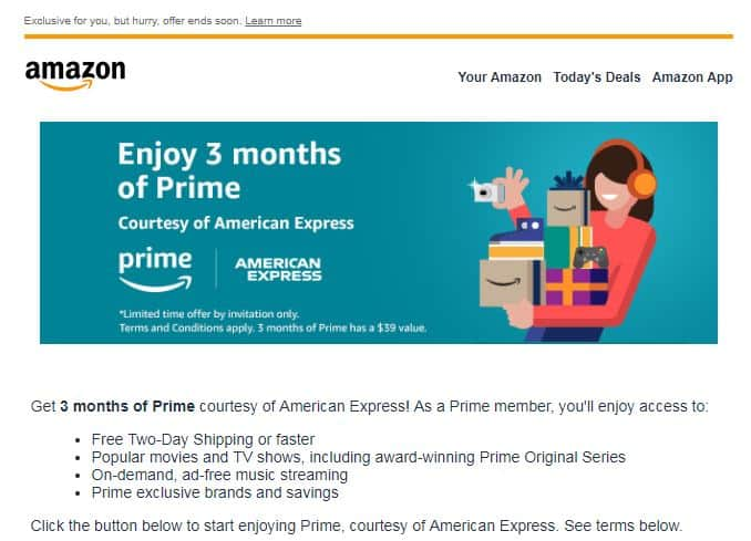 Invitation From Amazon Enjoy 3 Months Of Prime Courtesy Of Amex