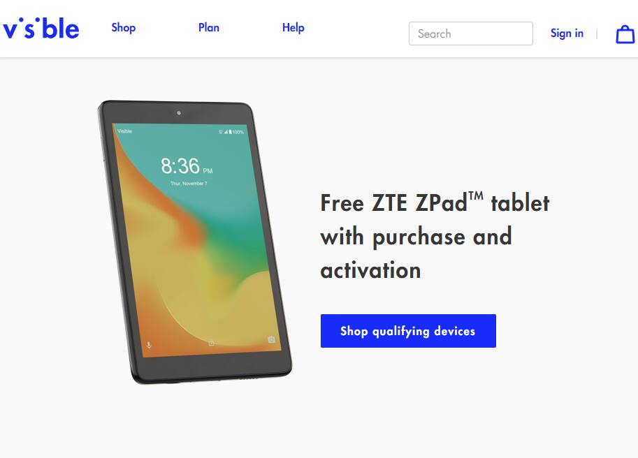 Free ZTE ZPadTM tablet with mobile phone, plan purchase, port in and activation - Visible