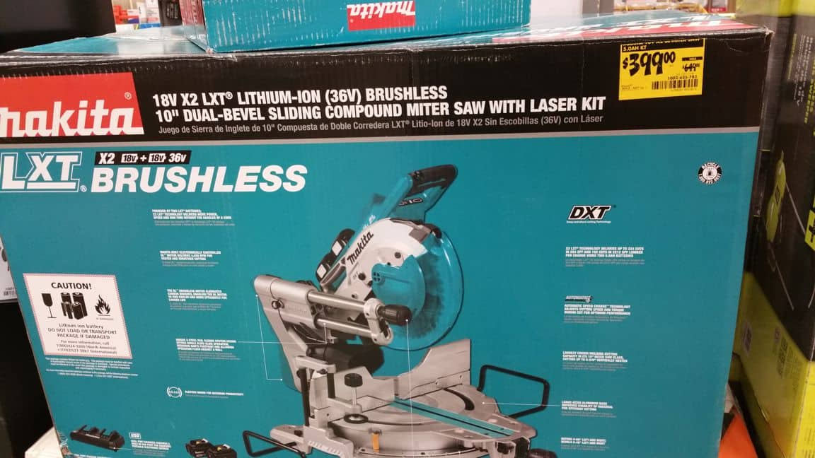 CLEARANCE - Makita 18-Volt 5.0Ah X2 LXT Lithium-Ion (36V) Brushless Cordless 10 in. Dual-Bevel Sliding Compound Miter Saw with Laser Kit $399