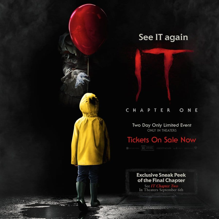 IT: Chapter One Re-release $5 ticket at participant theaters (valid 8/3 & 8/6 only)