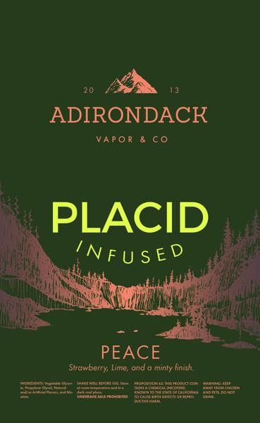 e-juice for vape: placid infused by adirondack vapor - 60 mL $4