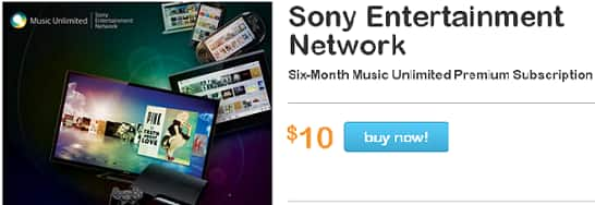 6 months of Sony Music Unlimited for $10