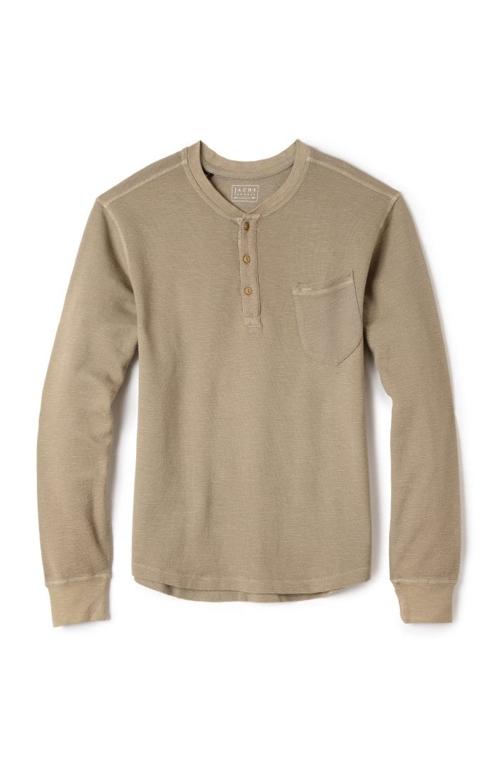 [50% OFF] Waffle Long Sleeve Henley + Free Shipping over $100 in USA (JACHSNY)