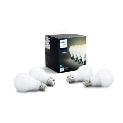 Philips Hue White A19 4-Pack 60W Equivalent Dimmable LED Smart Bulb $41.96
