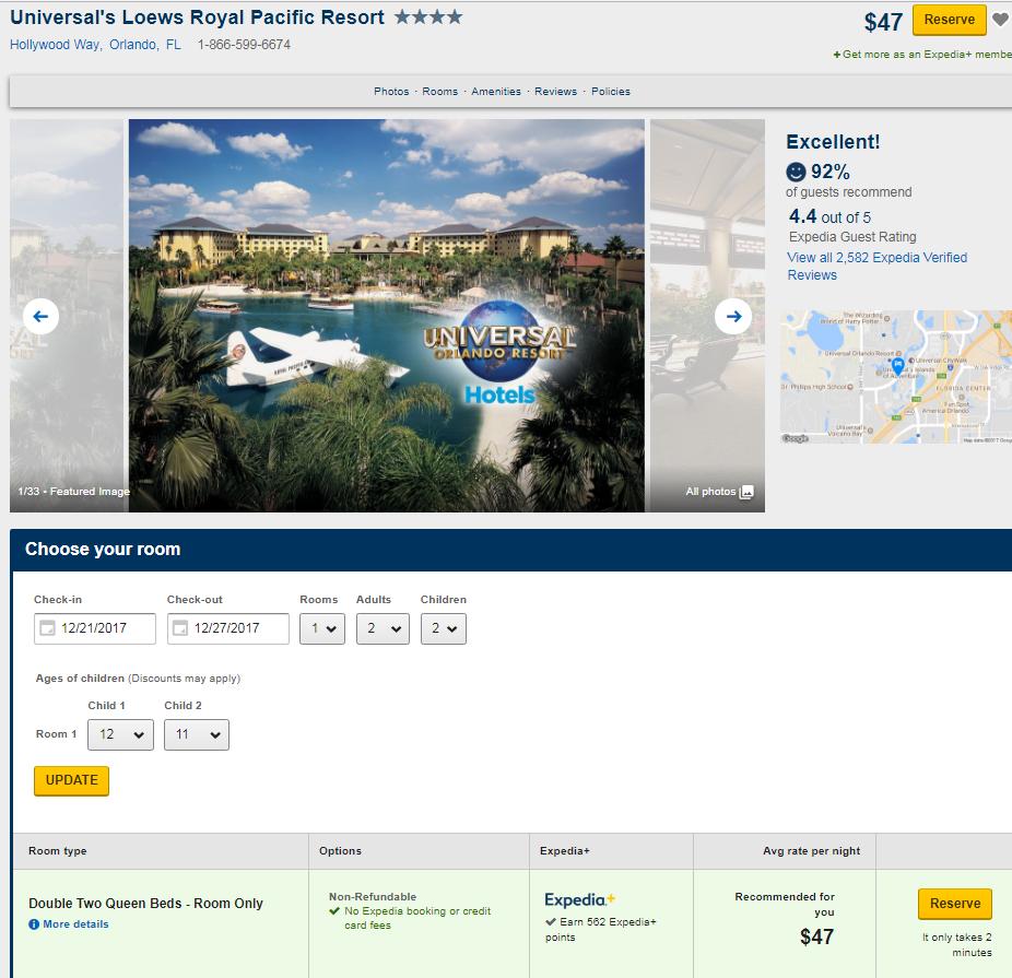 Universal Loews Royal Pacific Resort 47 dollars / night 12/21-12/27 $47