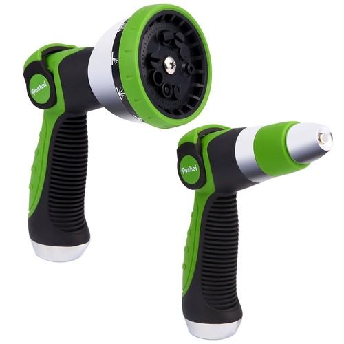 Garden Hose Nozzle Spray Nozzle Set, Poshei Metal Water Nozzle, Heavy Duty 10 Adjustable Watering Patterns - $9.09 @Amazon