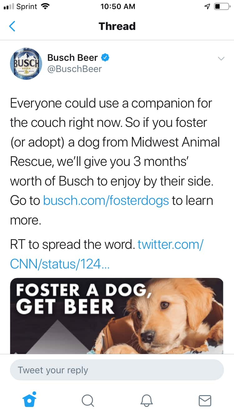 Free $100 for 3 months of Busch beer when you adopt or foster a dog (via Midwest Animal Rescue)