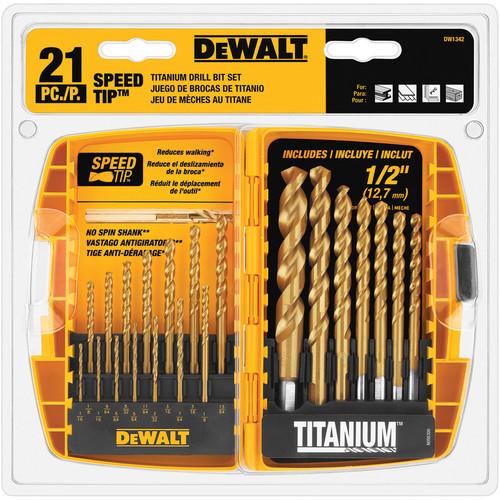 DEWALT 21-Piece Set Titanium Twist Drill Bit Set $20