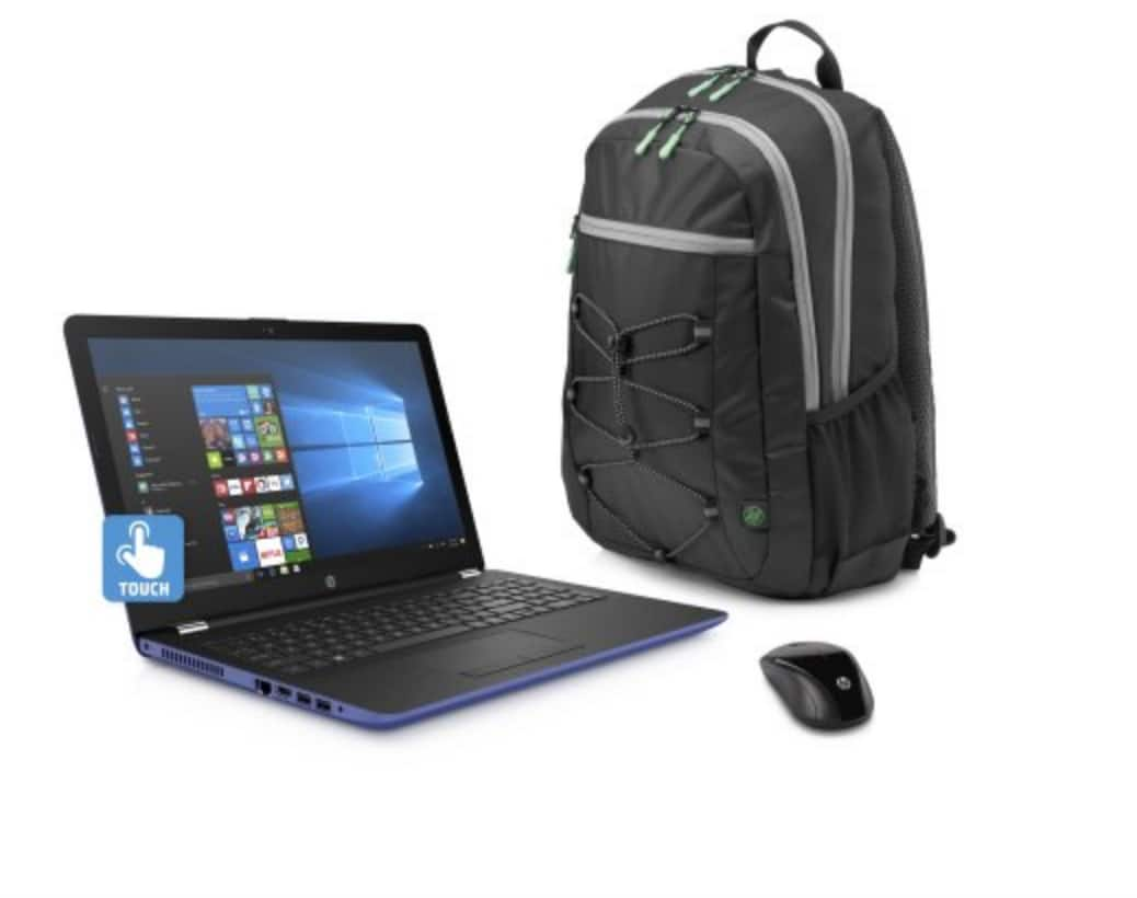 "HP 15-bw033WM 15.6"" Marine Blue Laptop Bundle, Windows 10, AMD A12-9720 Quad Core Processor, 8GB Memory, 1TB HDD, Wireless Mouse and Backpack - YMMV $198.98"