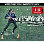 Under Armour Labor Day Offer: Spend $100 in store and get $20 UA gift card B&M