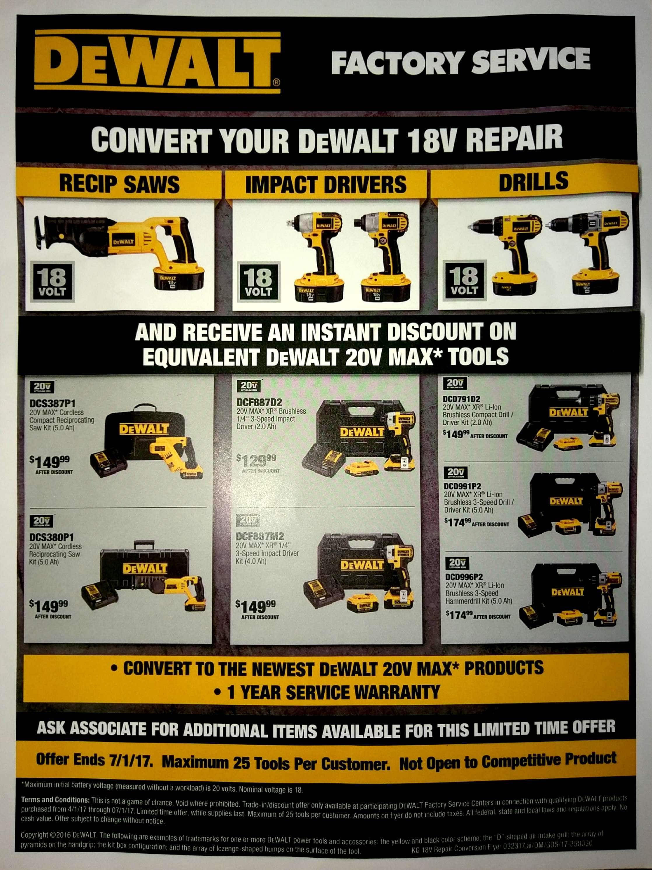 Dewalt 20v brushless hammer drill kit 2 batteries and charger for $174.99 with trade in @ dewalt  svc center