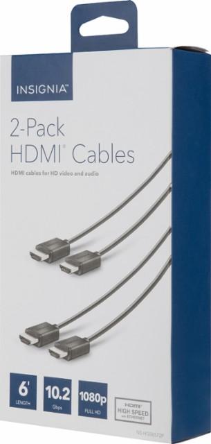 Insignia™ - 6' 4K Ultra HD HDMI Cable (2-Pack) - Black $9.99