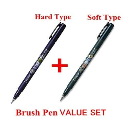 Tombow Fudenosuke Brush Pen 2 Pens Set [Soft & Hard Tip] $4.58