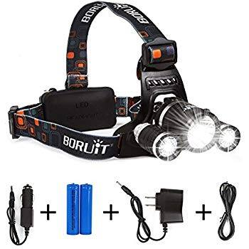 LIGHTESS Boruit LED Headlamp Rechargeable Waterproof Head Flashlight Lamp with 3 XM-L T6 $18.47 @Amazon lightning deal