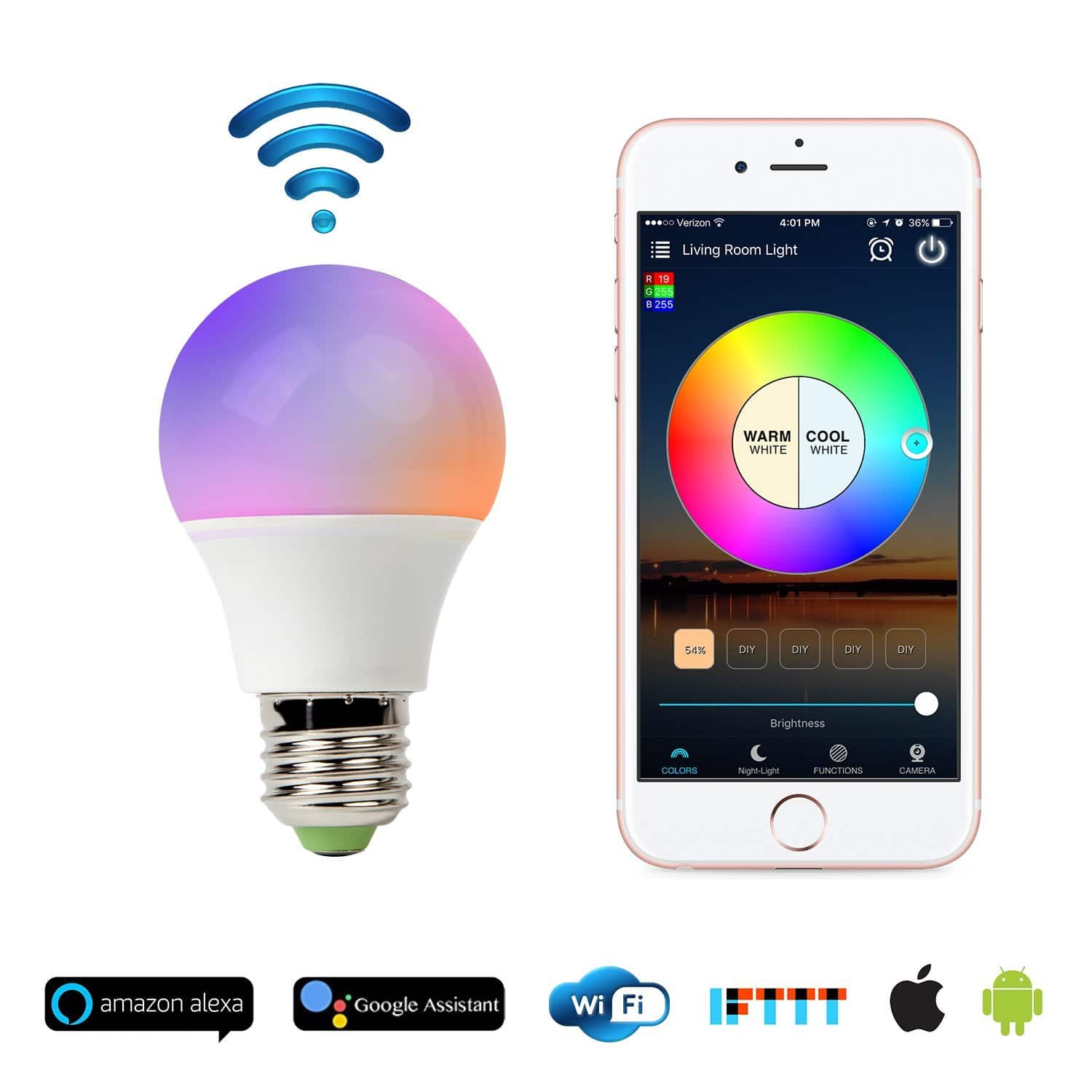 Smart WiFi Light Bulb, No Hub Required, Works with Alexa $13.99 @Amazon
