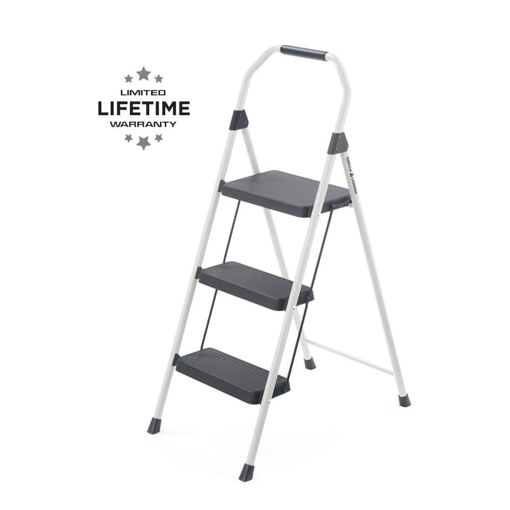 Super Gorilla Ladders 3 Step Compact Steel Step Stool 225Lb Caraccident5 Cool Chair Designs And Ideas Caraccident5Info
