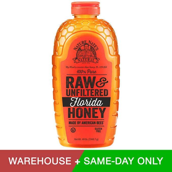 Nature Nate's Natural Pure Raw & Unfiltered Florida, Nor Cal, or Central Valley Honey 48 oz. $8.89 @ Costco Warehouse